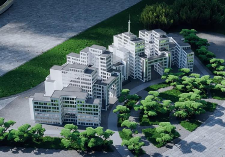 Мініатюрні будівлі у майбутньому парку Глоби